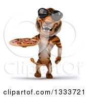 Clipart Of A 3d Tiger Wearing Sunglasses Walking And Holding A Pizza Royalty Free Illustration