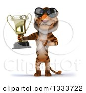 Clipart Of A 3d Tiger Wearing Sunglasses Holding And Pointing To A Trophy Royalty Free Illustration