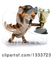 Clipart Of A 3d Tiger Wearing Sunglasses Facing Slightly Right Roaring And Holding A Trophy Royalty Free Illustration
