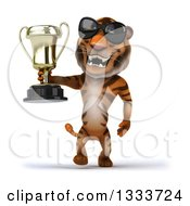 Clipart Of A 3d Tiger Wearing Sunglasses Walking And Holding A Trophy Royalty Free Illustration