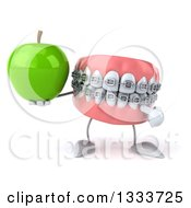 Clipart Of A 3d Metal Mouth Teeth Mascot With Braces Holding And Pointing To A Green Apple Royalty Free Illustration