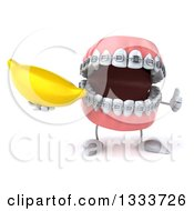 Clipart Of A 3d Metal Mouth Teeth Mascot With Braces Giving A Thumb Up And Holding A Banana Royalty Free Illustration