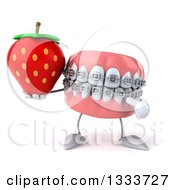 Clipart Of A 3d Metal Mouth Teeth Mascot With Braces Holding And Pointing To A Strawberry Royalty Free Illustration by Julos