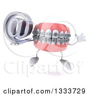 Clipart Of A 3d Metal Mouth Teeth Mascot With Braces Jumping And Holding An Email Arobase At Symbol Royalty Free Illustration by Julos