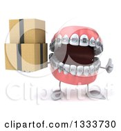 Clipart Of A 3d Metal Mouth Teeth Mascot With Braces Giving A Thumb Up And Holding Boxes Royalty Free Illustration by Julos