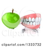 Clipart Of A 3d Mouth Teeth Character Holding Up A Green Apple Royalty Free Illustration by Julos