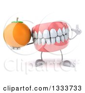 Clipart Of A 3d Mouth Teeth Character Holding Up A Finger And A Navel Orange Royalty Free Illustration by Julos