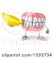 Clipart Of A 3d Mouth Teeth Character Holding A Banana Royalty Free Illustration by Julos