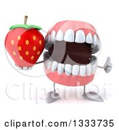 Clipart Of A 3d Mouth Teeth Character Giving A Thumb Up And Holding A Strawberry Royalty Free Illustration by Julos