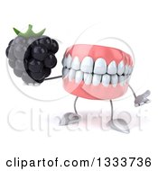 Clipart Of A 3d Mouth Teeth Character Shrugging And Holding A Blackberry Royalty Free Illustration by Julos
