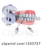 Clipart Of A 3d Mouth Teeth Character Facing Slightly Right Jumping And Holding A Dollar Currency Symbol Royalty Free Illustration by Julos