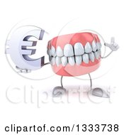 Clipart Of A 3d Mouth Teeth Character Holding Up A Finger And A Euro Currency Symbol Royalty Free Illustration by Julos