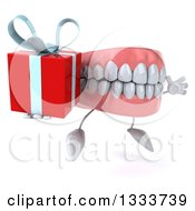 Clipart Of A 3d Mouth Teeth Character Facing Slightly Right Jumping And Holding A Gift Royalty Free Illustration by Julos