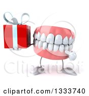 Clipart Of A 3d Mouth Teeth Character Holding And Pointing To A Gift Royalty Free Illustration by Julos