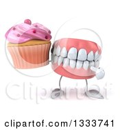 Clipart Of A 3d Mouth Teeth Character Holding And Pointing To A Pink Frosted Cupcake Royalty Free Illustration by Julos