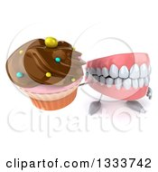 Clipart Of A 3d Mouth Teeth Character Holding Up A Chocolate Frosted Cupcake Royalty Free Illustration by Julos