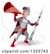 Clipart Of A 3d Young White Male Super Hero Mechanic In Gray And Red Using A Megaphone And Holding A Giant Vaccine Syringe Royalty Free Illustration