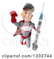 Clipart Of A 3d Young White Male Super Hero Mechanic In Gray And Red Flying With A Giant Vaccine Syringe Royalty Free Illustration
