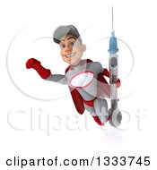 Clipart Of A 3d Young White Male Super Hero Mechanic In Gray And Red Flying With A Giant Vaccine Syringe 2 Royalty Free Illustration