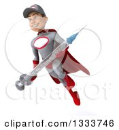 Clipart Of A 3d Young White Male Super Hero Mechanic In Gray And Red Facing Slightly Left Flying And Holding A Giant Vaccine Syringe Royalty Free Illustration