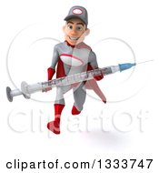 Clipart Of A 3d Young White Male Super Hero Mechanic In Gray And Red Sprinting And Holding A Giant Vaccine Syringe Royalty Free Illustration