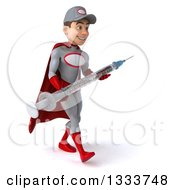 Clipart Of A 3d Young White Male Super Hero Mechanic In Gray And Red Walking Slightly To The Right And Holding A Giant Vaccine Syringe Royalty Free Illustration
