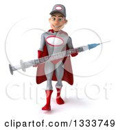 Clipart Of A 3d Young White Male Super Hero Mechanic In Gray And Red Walking And Holding A Giant Vaccine Syringe Royalty Free Illustration