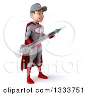 Clipart Of A 3d Young White Male Super Hero Mechanic In Gray And Red Facing Slightly Right And Holding A Giant Vaccine Syringe Royalty Free Illustration