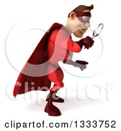 Clipart Of A 3d Buff White Male Super Hero In A Red Suit Facing Left Looking Down And Searching With A Magnifying Glass Royalty Free Illustration by Julos