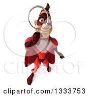 Clipart Of A 3d Buff White Male Super Hero In A Red Suit Looking Up And Searching With A Magnifying Glass Royalty Free Illustration by Julos