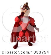 Clipart Of A 3d Caucasian Red Super Hero Man Searching With A Magnifying Glass Royalty Free Illustration