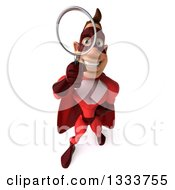 Clipart Of A 3d Caucasian Red Super Hero Man Looking Up Searching With A Magnifying Glass Royalty Free Illustration by Julos