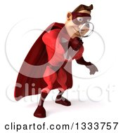 Clipart Of A 3d Buff White Male Super Hero In A Red Suit Searching Looking Down And Searching With A Magnifying Glass Royalty Free Illustration by Julos