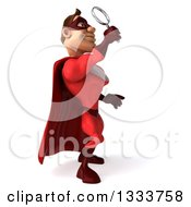 Clipart Of A 3d Buff White Male Super Hero In A Red Suit Facing Left Looking Up And Searching With A Magnifying Glass Royalty Free Illustration by Julos
