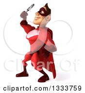 Clipart Of A 3d Caucasian Red Super Hero Man Facing Left Looking Up And Searching With A Magnifying Glass Royalty Free Illustration by Julos