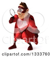 Clipart Of A 3d Caucasian Red Super Hero Man Facing Slightly Left Looking Down And Searching With A Magnifying Glass Royalty Free Illustration by Julos