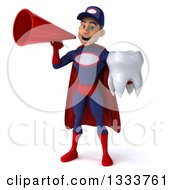 Clipart Of A 3d Young White Male Super Hero Mechanic In Red And Dark Blue Holding A Tooth And Announcing With A Megaphone Royalty Free Illustration