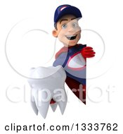 Clipart Of A 3d Young White Male Super Hero Mechanic In Red And Dark Blue Holding A Tooth Around A Sign Royalty Free Illustration