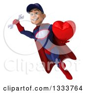 Clipart Of A 3d Young White Male Super Hero Mechanic In Red And Dark Blue Flying Holding A Wrench And A Red Love Heart Royalty Free Illustration