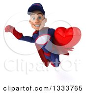 Clipart Of A 3d Young White Male Super Hero Mechanic In Red And Dark Blue Flying And Holding A Red Love Heart Royalty Free Illustration
