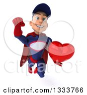 Clipart Of A 3d Young White Male Super Hero Mechanic In Red And Dark Blue Flying With A Love Heart Royalty Free Illustration