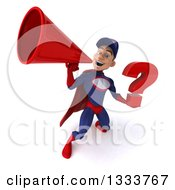 Clipart Of A 3d Young White Male Super Hero Mechanic In Red And Dark Blue Holding A Question Mark And Announcing Upwards With A Megaphone Royalty Free Illustration