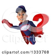 Clipart Of A 3d Young White Male Super Hero Mechanic In Red And Dark Blue Flying With A Question Mark Royalty Free Illustration