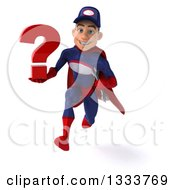 Clipart Of A 3d Young White Male Super Hero Mechanic In Red And Dark Blue Sprinting With A Question Mark And Wrench Royalty Free Illustration