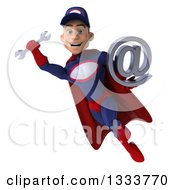 Clipart Of A 3d Young White Male Super Hero Mechanic In Red And Dark Blue Flying With A Wrench And Email Arobase At Symbol Royalty Free Illustration