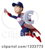 Clipart Of A 3d Young White Male Super Hero Mechanic In Red And Dark Blue Flying To The Left With A Wrench And Euro Symbol Royalty Free Illustration