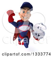 Clipart Of A 3d Young White Male Super Hero Mechanic In Red And Dark Blue Flying And Holding A Dollar Currency Symbol Royalty Free Illustration