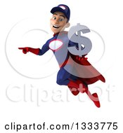 Clipart Of A 3d Young White Male Super Hero Mechanic In Red And Dark Blue Flying Pointing And Holding A Dollar Currency Symbol Royalty Free Illustration