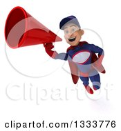 Clipart Of A 3d Young White Male Super Hero Mechanic In Red And Dark Blue Flying And Using A Megaphone Royalty Free Illustration