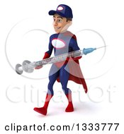 Clipart Of A 3d Young White Male Super Hero Mechanic In Red And Dark Blue Walking Slightly To The Left And Holding A Giant Vaccine Syringe Royalty Free Illustration